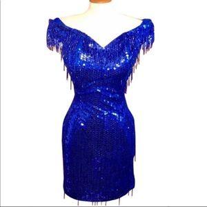 NADINE PETITE•ROYAL BLUE BEADED SEQUIN DRESS